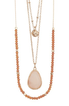 Melrose and Market Layered Bead & Stone Pendant Necklace