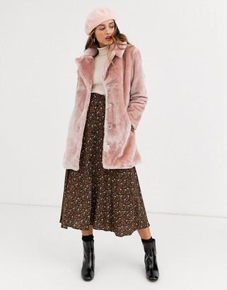 Qed London faux fur coat in blush