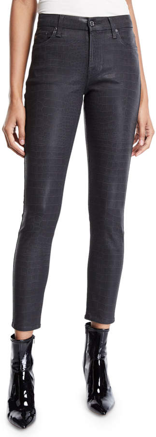 7 For All Mankind The Ankle Skinny Coated Snake-Print Jeans