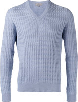 Canali textured V-neck sweater