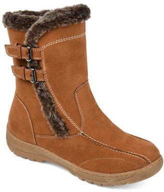 Brinley Co. Womens Faux Fur Trim Tread Sole Winter Boot