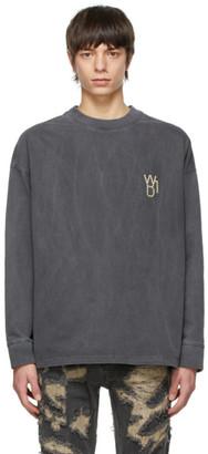 we11done Grey Pearl Logo Long Sleeve T-Shirt