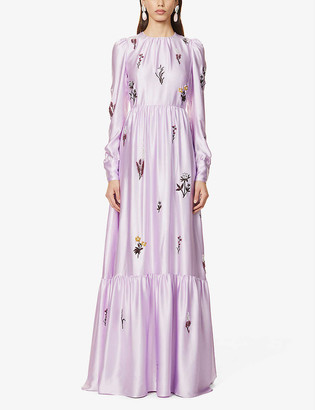 Erdem Alvienne beaded silk-satin gown