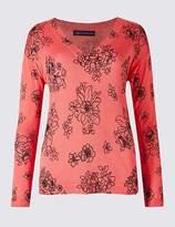 M&S Collection Floral Print V-Neck Jumper