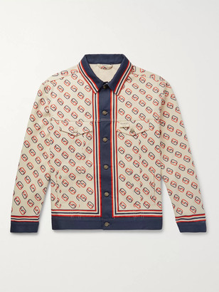 Gucci Logo-Print Denim Jacket - Men - Neutrals