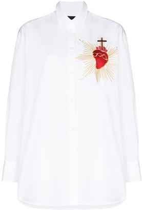 Simone Rocha Heart-Embroidered Oversized Shirt
