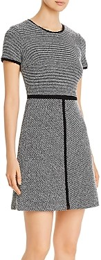 Karl Lagerfeld Paris Short-Sleeve Tweed Knit Dress