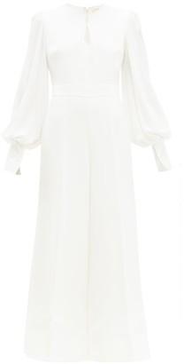 Roksanda Aunya Balloon-sleeve Crepe Jumpsuit - Womens - Ivory