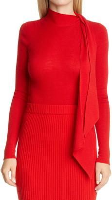 St. John Tie Neck Superfine Rib Sweater