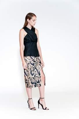 Yigal Azrouel Leopard Print Scuba Skirt
