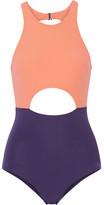 Flagpole Swim - Vera Cutout Color-block Swimsuit - Pastel orange
