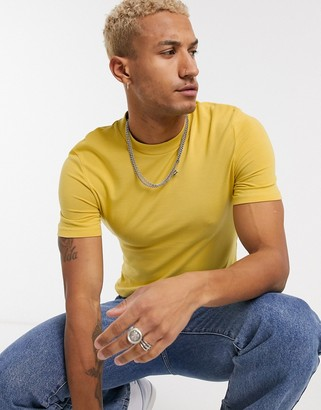ASOS DESIGN organic muscle fit t-shirt in yellow