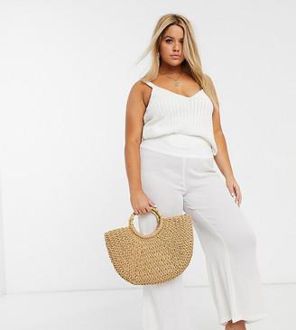Vero Moda Curve elasticated wide leg lightweight pant in white