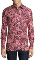 Tom Ford 70s Floral-Print Shirt, Purple/Pink