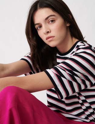 Maje T-Shirt with tricolored stripes