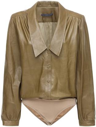 ZEYNEP ARCAY Leather Bodysuit W/ Collar