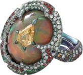Arunashi Yellow Diamond And Opal Ring