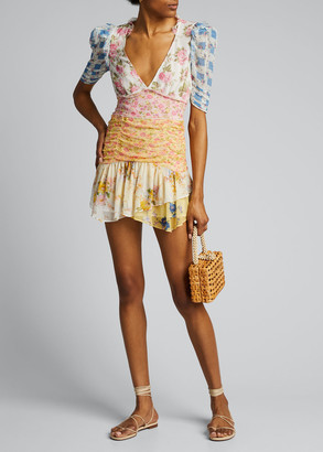 LoveShackFancy Arlo Floral Print Mini Dress