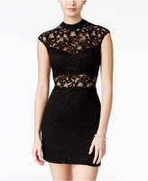 B. Darlin Juniors' Lace Illusion Bodycon Dress