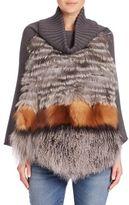 Max Mara Gilly Fox Fur, Shearling & Wool Poncho