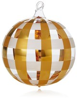 Bloomingdale's Gold Checkered Glass Ball Ornament