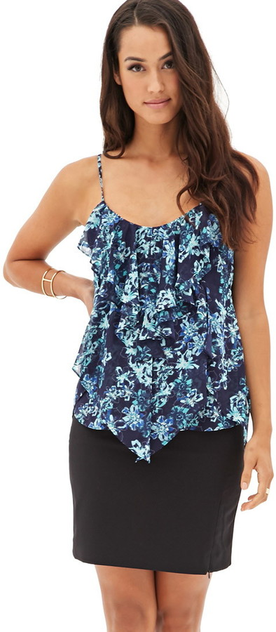 LOVE21 LOVE 21 Contemporary Tiered Ruffle Floral Cami