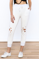 Mono B White Distressed Jogger Pants