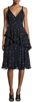 Rebecca Taylor Metallic Chiffon Tiered Midi Dress