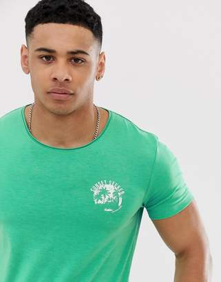 Tom Tailor t-shirt with sunset print in bright green