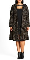 City Chic Plus Size Women's Geo Pattern Hooded Cardigan