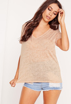 Missguided Tall Exclusive Burnout V Neck Boyfriend Tee Nude