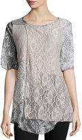 Alberto Makali Lace-Print Tunic Top, Gray