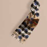 Burberry Reversible Geometric Tile Print and Check Cashmere Scarf