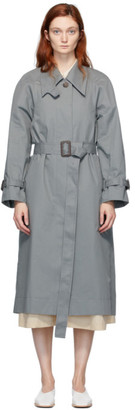 Low Classic Blue Armhole Stitch Trench Coat