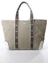 Anya Hindmarch Beige White Canvas Leather Medium Tote Handbag