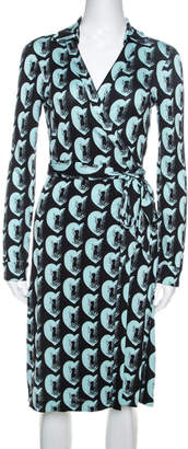Diane von Furstenberg Bicolor Printed Silk New Jeanne Two Wrap Dress S