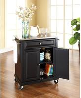 Crosley 28-1/4 in. W Stainless Steel Top Mobile Kitchen Island Cart in Black