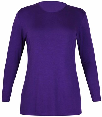 Purple Hanger Womens New Plain Long Sleeve Casual Top Ladies Basic Stretch Fit Crew Neck Everyday T-Shirt Tops Plus Size Dark Grey Size 14