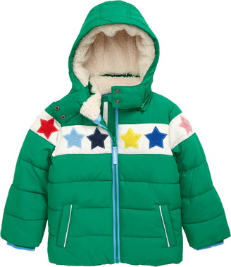 Boden Kids' Star Insulated Jacket with Faux Shearling Trim