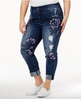 Melissa McCarthy Trendy Plus Size Whimsical Wash Embroidered Ripped Jeans
