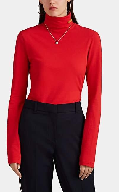 Calvin Klein Women's Logo Embroidered Turtleneck Top - Red