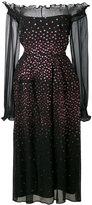 Talbot Runhof metallic dot bardot dress