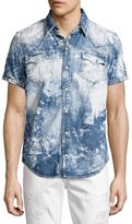 True Religion Ryan Bleached Short-Sleeve Denim Western Shirt, Blue