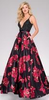 Jovani Beaded Bodice Floral Print Prom Dress