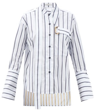 Palmer Harding Palmer//harding - Lina Buckle-strap Striped Cotton Shirt - White Navy