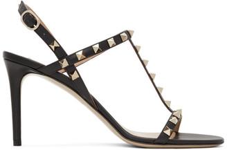 Valentino Black Garavani Rockstud Slingback Sandals