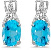 Direct-Jewelry 14k White Gold Oval Topaz And Diamond Earrings