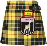 Miu Miu patch-embellished tartan mini skirt