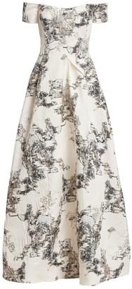 Rene Ruiz Collection Off-The-Shoulder Matelasse Gown