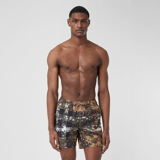 Burberry Camouflage Check Drawcord Swim Shorts